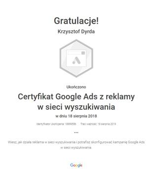certyfikat Google Ads