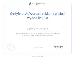 certyfikat GoogleAdWords